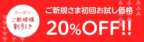 【クーポン】ご新規さま初回お試し価格 20%OFF